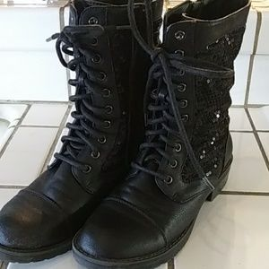 Black leather sequin boots